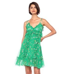 The Kooples Sunrise Green Silk Floral Dress